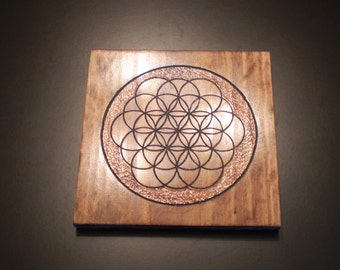 Flower of Life - An Ancient Symbol for Humanity  - Red Oak - Wood Engraved Painting - Great Gift Idea