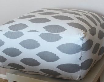 Square Pouf Floor Pillow Storm Grey White Ikat