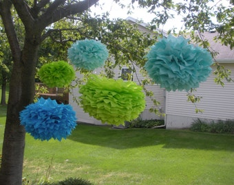 5 Poms FAST SHIPPING  Mermaid Collection Extra Large Tissue Pom Poms