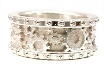 SteamPunk Mens Sandblasted Silver Ring - Gears and Rivets - Industrial Steam Punk