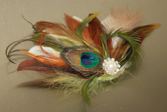 Cream Goose and Natural peacock Feather with Olive green and Light brown accents Boutique Large Hair Clip Fascinator Photp Prop