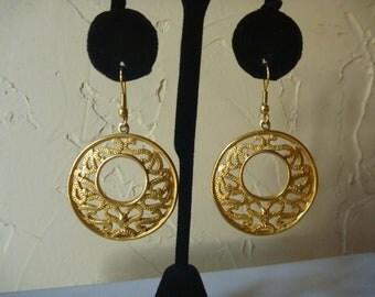VINTAGE 1970's GOLD Pierced EARRINGS