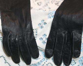 Vintage Black Leather Gloves - Made in France, Size 6 1/2