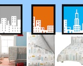 "City Skyline Nursery Wall Art 3 Piece for Toddler Nursery Room Art  8""x10"" prints, Matches Dwell Studio Skyline bedding"