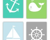 Nautical Nursery Art // Nautical Wall Art // Nautical Art for Kids // Whale Art // Nautical Decor // 4- 8x10 PRINTS ONLY Unframed