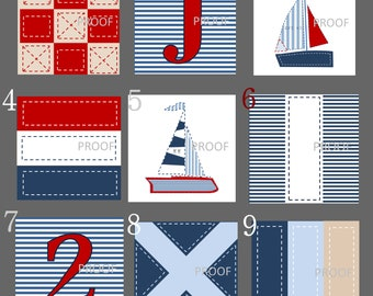 "Nautical Nursery Art // Nautical Prints // Nautical Decor // Maritime Flags // Sailboat Art // Nautical Art in 8""x8"" size Four PRINTS ONLY"