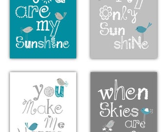 Teal Wall Art for Kids // Teal and Gray Nursery Decor // Teal Nursery Prints // Baby Shower Gift, You are my sunshine Art 4-8x10 PRINTS ONLY