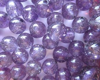 SALE - Purple Sparkle Beads 13mm 20 Beads