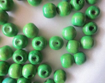 Green Wood Beads 12mm 20 Beads