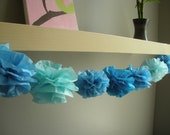 tissue paper pom pom...garland...pick your colors...10 pom garland set