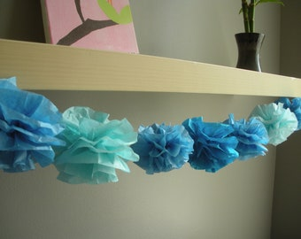 tissue paper pom pom...garland...pick your colors...10 pom garland set