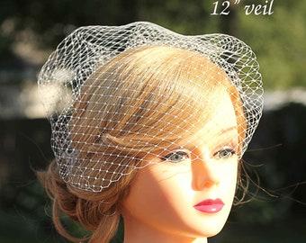 "Nose Level Birdcage Veil Fascinator-Veil Only-12"" Veil-Ivory or White"