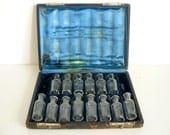victorian bottle set in leather case