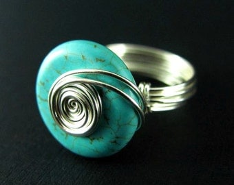 Turquoise Wire Wrapped Ring Nickel Free Silver Wire Wrapped Jewelry Gemstone Ring