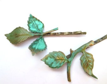 Bridal Hair Leaves Hairpins Bohemian Accessories Green Leaf Clips Spring Wedding