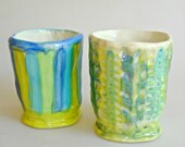 Small vase set, Ceramic tumbler set, coffee cup, teacup, summer decor, juice cup, striped blue, green and turquoise cup