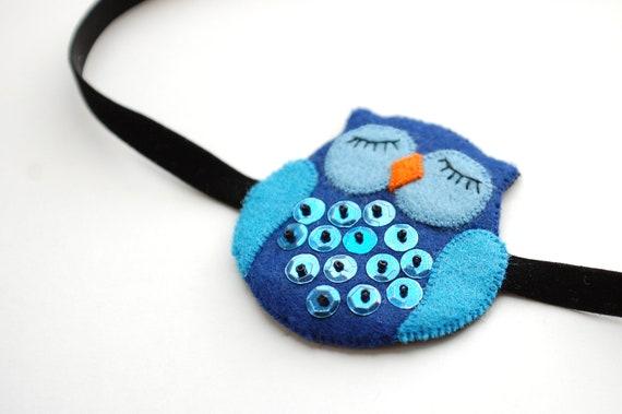 Felt owl headbant blue black