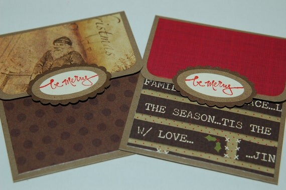 Two Christmas gift card holders- santa be merry