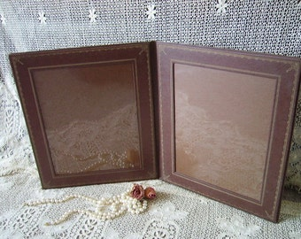 Vintage Pleather book style Photo  frame, Brown and gold, retro, tattered