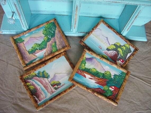 RESERVE LING Vintage embossed postcards, bamboo style frame, Japan, SET of 4, landscapes