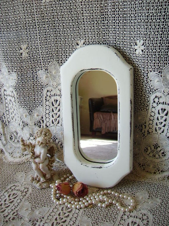Upcycled Country Cottage mirror Distressed, chippy, Creamy White, wood