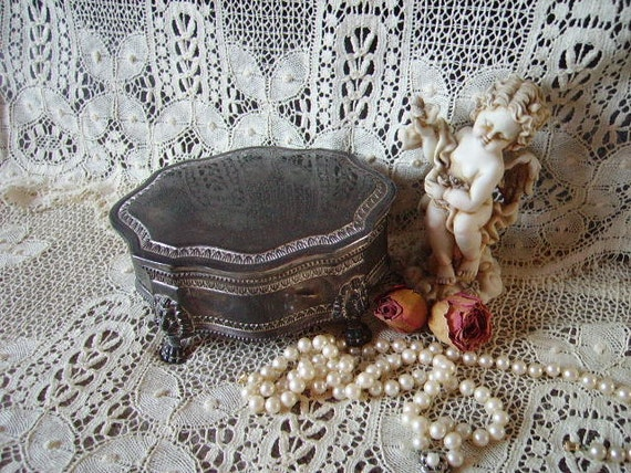 Silver Colored, Patina Music Box, Cottage chic, trinket box, jewelry casket