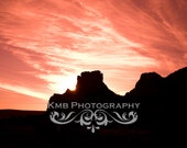 Sky on Fire.  Red Sunset over the Red Rocks of Sedona Fine Art 8x12, 8x10 or 8x8 Photograph - kmbphoto