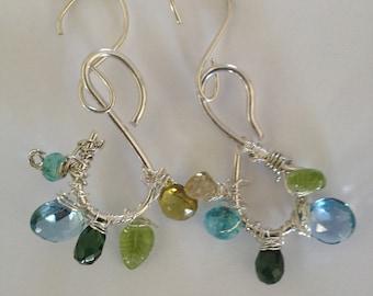 Etsy Jewelry, Gold/Green Tourmaline, Peridot, London Blue Topaz, Teal Apatite, Peacock Earrings