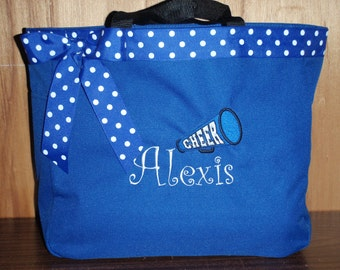 Personalized Monogrammed Cheer Tote Bag Cheerleader Megaphone