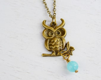 Owl Necklace, Owl Jewelry Necklace,Owl Charm Necklace, Christmas Gift,Chalcedony Necklace. Antique Brass Necklace, gift to her,Cyber Monday