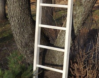 "ladder/ Reclaimed wood/ pine/ distressed/ white/ decorative style decor/ 50"" H x 15"" W"