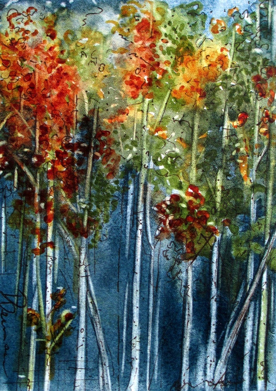 Autumn Aspens Landscape Watercolor