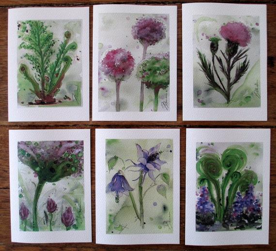 Woodland Botanical Art Prints Set of Six Watercolor Greeting Cards