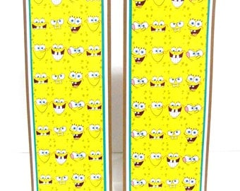 CLEARANCE-Paper Bookmarks: Spongebob Set of 2- approx 2 1/2 x 7 inches