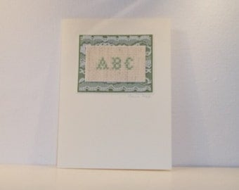 abc sampler hand embroidered greeting card