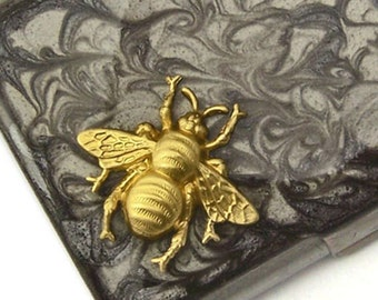 Steampunk Bee Business Card Case Inlaid in Hand Painted Enamel Gray Smoke Swirl Design Neo Victorian Custom Colors and Personalized Options