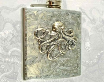 Steampunk Antique Silver Octopus Flask Inlaid in Hand Painted Silver Swirl Design Neo Victorian Kraken Custom Colors and Personalized Option