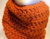 Crochet Chunky Cowl Scarf Pumpkin Orange Infinity Scarves