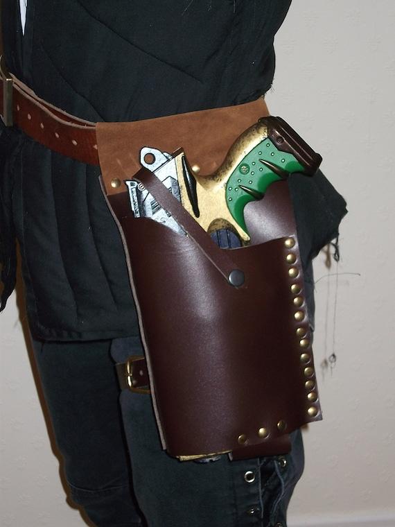 LARP Leather NERF Maverick Holster (Brown/Brass/RIGHT hang) by Clockwork Firebird Designs