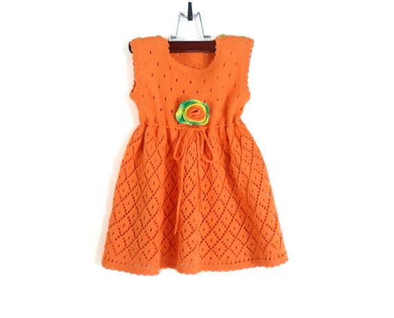 RESERVED - Lace Knitted Baby Dress - Orange, 12 - 18 months