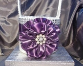Ivory Flower Girl Basket with Amethyst Purple Flower covered in Soft Silver tulle and Rhinestone Mesh handle and Trim