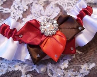 Wedding Garter Set, Fall Foliage Bridal Garter Set, White Satin with leaves in Chocolate Truffle, Apple Red & Persimmon, Wedding Garter Set