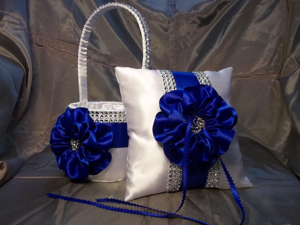 Flower Girl Baskets And Matching Ring Bearer Pillows : White flower girl basket and matching ring bearer pillow with