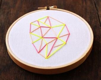 Neon Geometrics Hand Embroidery