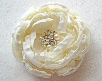 Ivory Peony Flower Hair Clip with Swarovski Pearls and Sew on Crystals, Brooch, Shoulder Flower  for a Bride Bridesmaid Female Gift