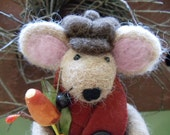 Mr. Waffles the Dapper Mouse Needle Felted Alpaca Autumn Fall Decoration - FullyFleecedEwe
