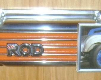 vintage hot rod, finned aluminum, valve cover-picture frame
