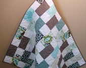 """Sale Riley Blake Verona Gray and Teal Baby, Toddler or Lap Girl Quilt--42"""" x 46"""""""