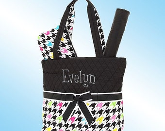 Diaper Bag - 3 Piece Personalized Set - Quilted Multi-Colored Houndstooth with Black Accents