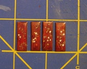 "set of 4 oriental ""pearl"" peony  inlays on red  lacquer"